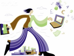 Businesswoman Running With Computer