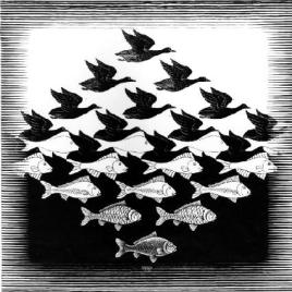 Sky and Water is a 1939 woodcut by Dutch artist M.C. Escher. Courtesy of Wikipedia.org