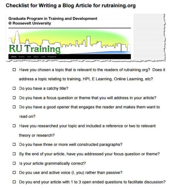 Blogchecklist